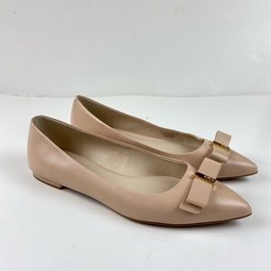 Cole Haan Elsie Bow Skimmer Leather Flat Shoes
